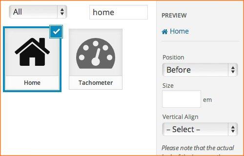 seleccionar icono menu wordpress