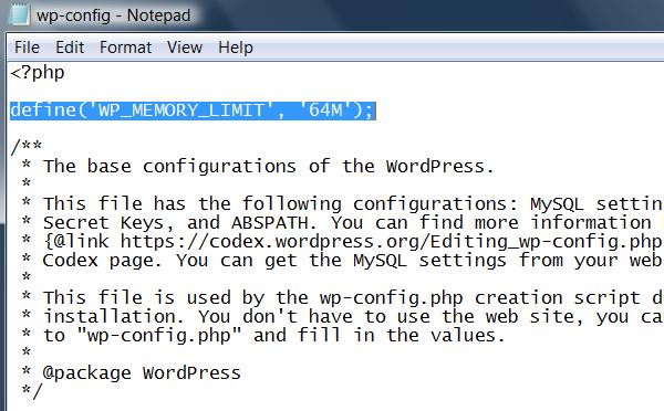 wp-config-php-archivo aumentar memoria php