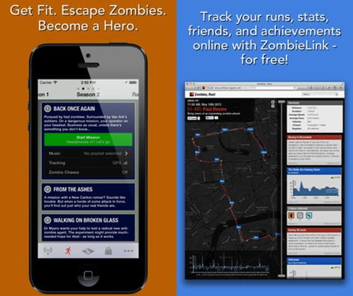 zombie run aplicaciones corredores iphone